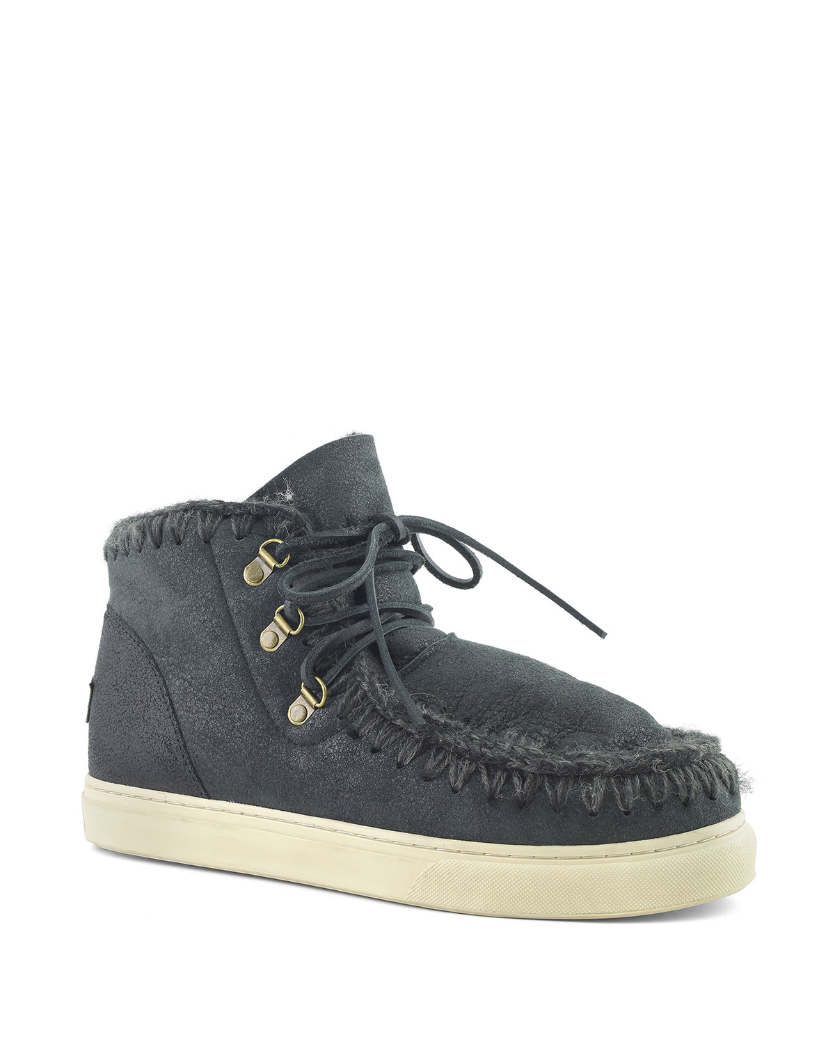 Mou KID'S SHEEPSKIN LACE-UP SNOW BOOT SNEAKERS