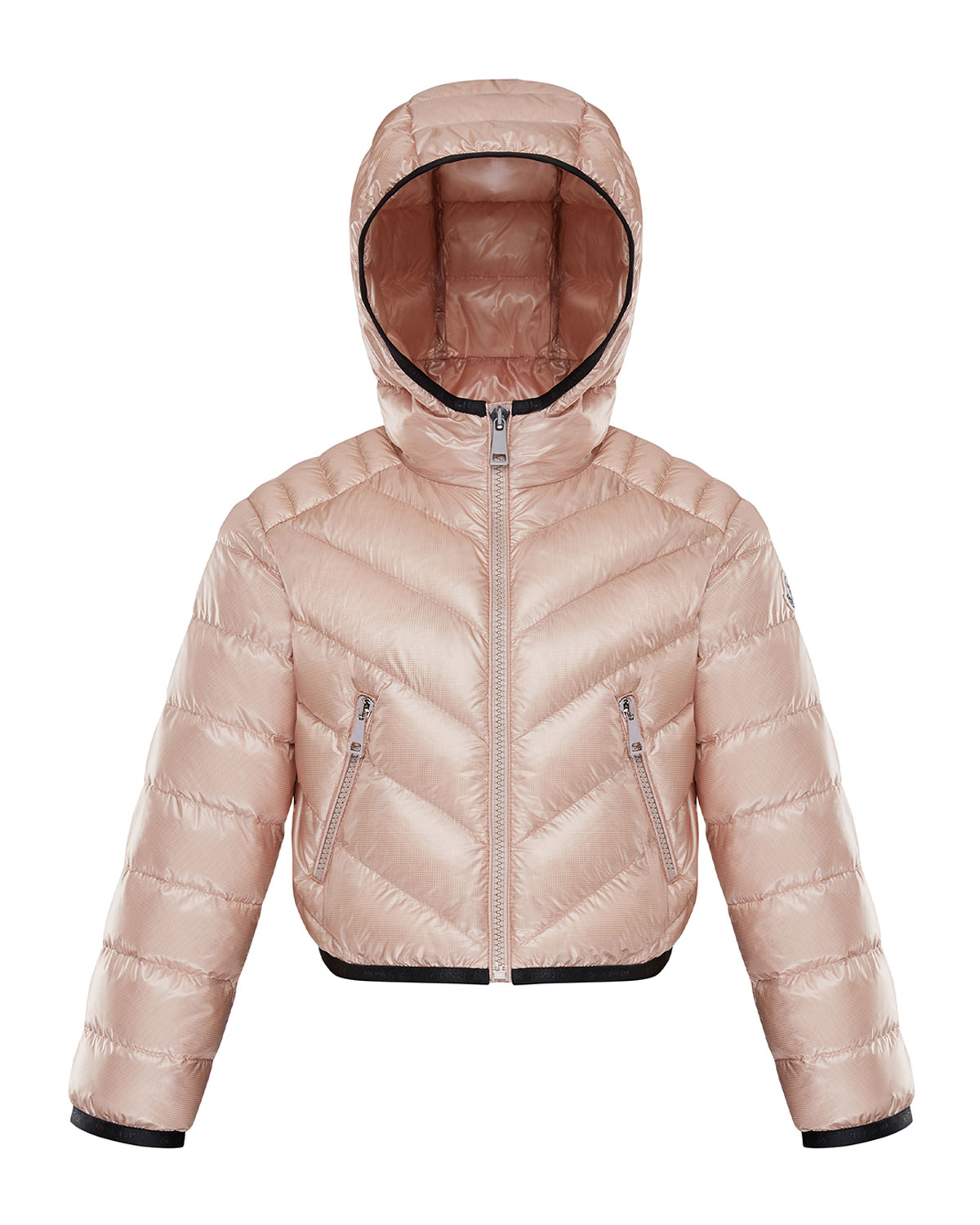 Moncler GIRL'S QUILTED PUFFER JACKET W/ HOOD