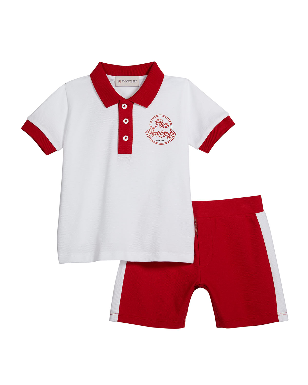 Moncler BOY'S FIRE SURFING COTTON POLO SHIRT W/ SHORTS