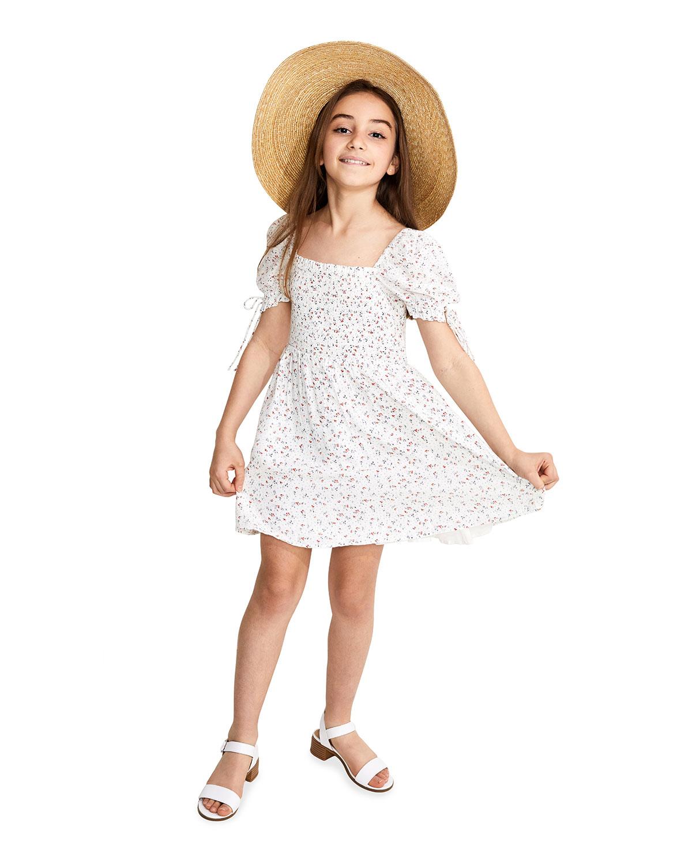 Bardot Junior GIRL'S DITSY FLORAL-PRINT SHIRRED A-LINE DRESS