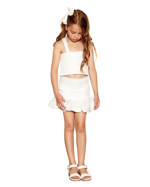 Bardot Junior GIRL'S NIA SHIRRED TIE-SHOULDER COTTON TOP