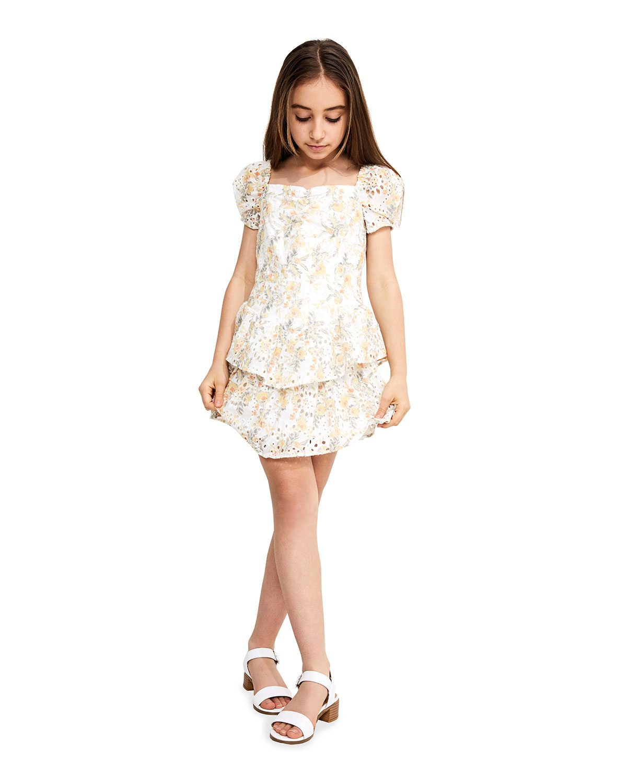 Bardot Junior GIRL'S BRODERIE FLORAL-PRINT EYELET DRESS