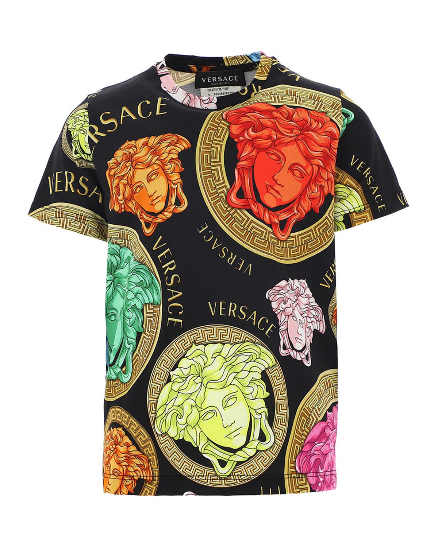 Versace BOY'S MEDUSA AMPLIFIED SHORT-SLEEVE SHIRT