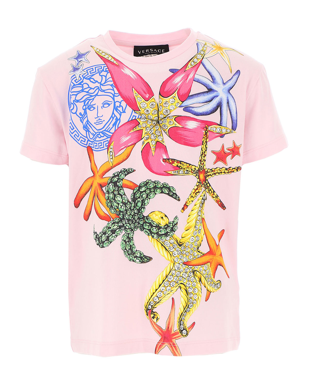 Versace Cottons GIRL'S TRESOR DE LA MER SHORT-SLEEVE SHIRT