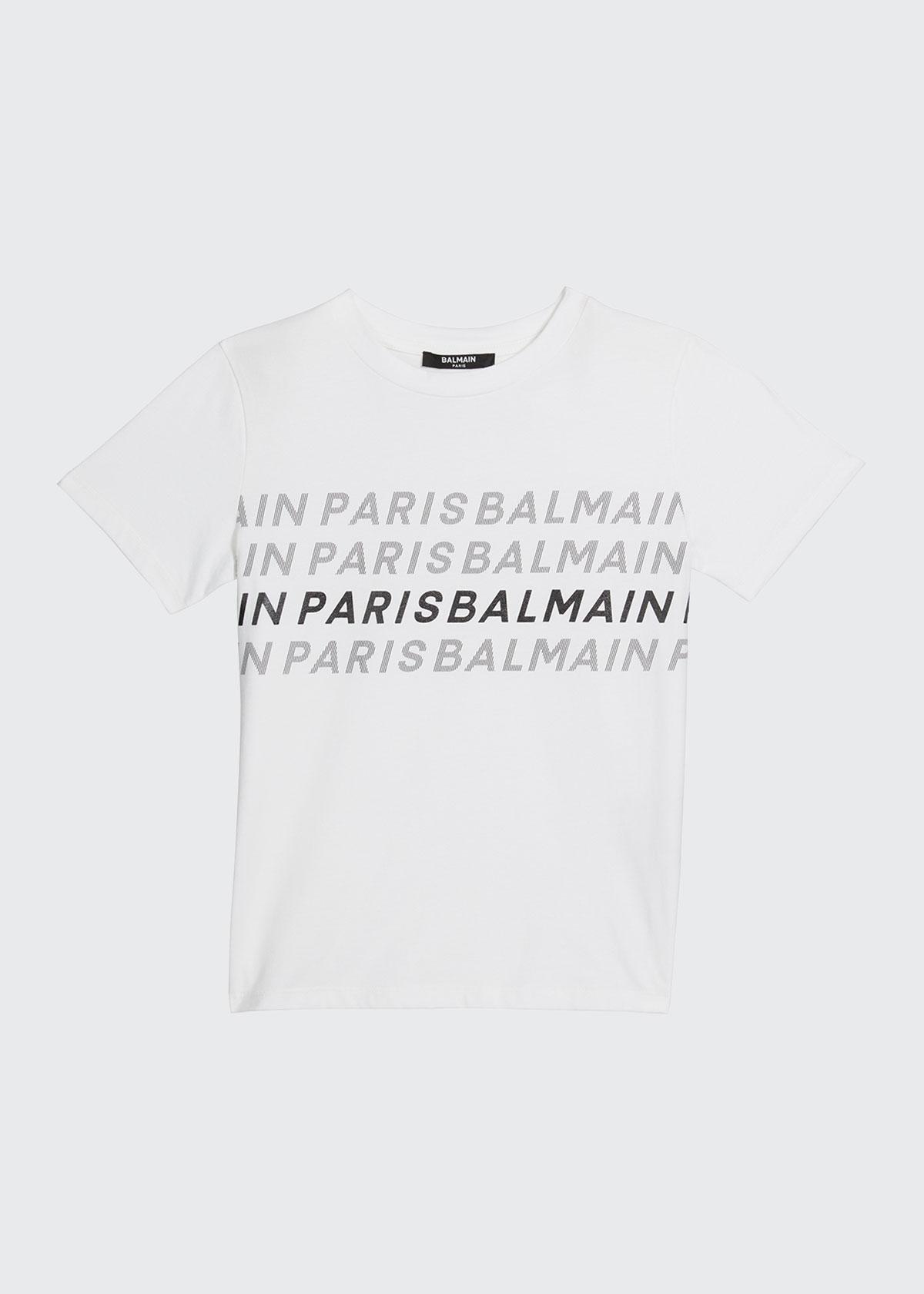 Balmain Cottons BOY'S LOGO-PRINT COTTON SHORT-SLEEVE SHIRT