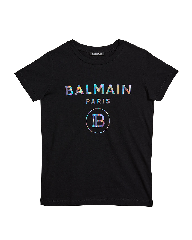 Balmain Cottons GIRL'S METALLIC LOGO SHORT-SLEEVE SHIRT