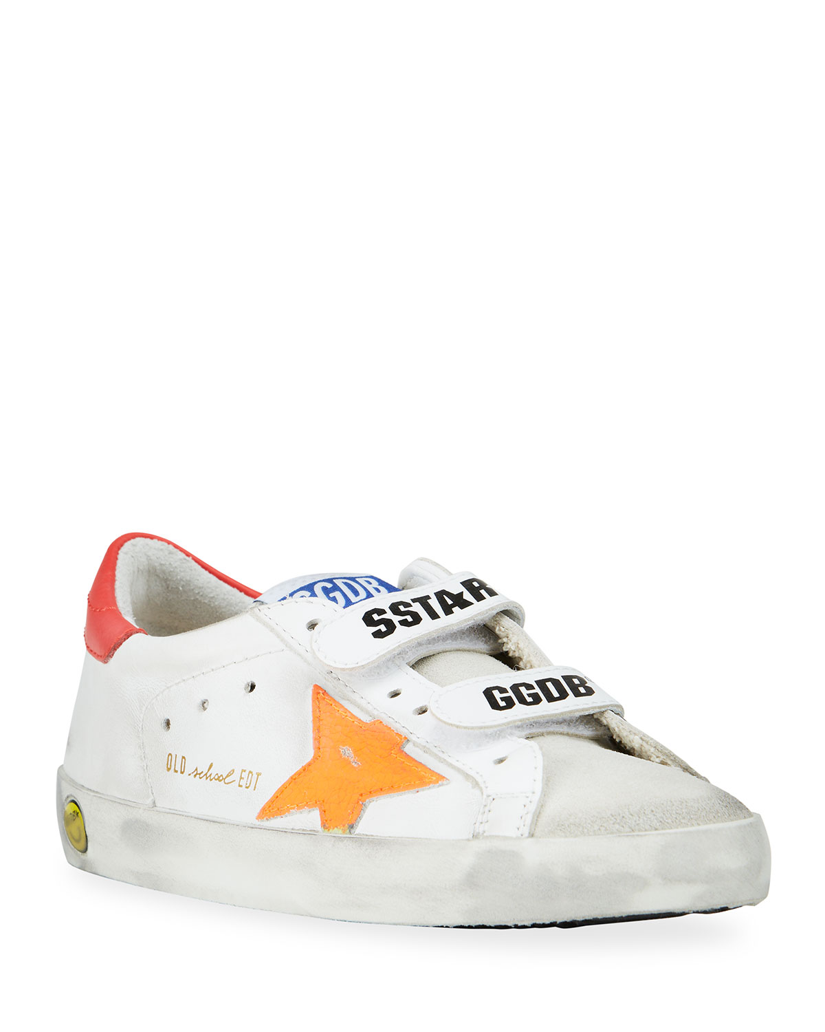 Golden Goose Leathers OLD SCHOOL LOGO DOUBLE GRIP-STRAP SNEAKERS, TODDLER/KIDS