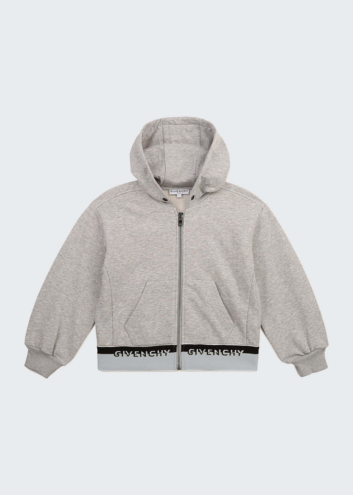 Givenchy BOY'S HOODED LOGO BAND ZIP-UP JACKET