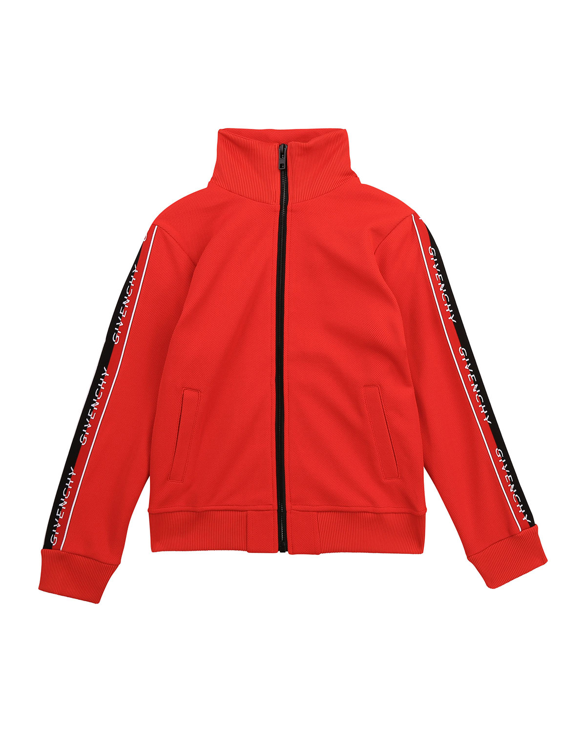 Givenchy BOY'S LOGO-TAPE STAND-COLLAR ZIP-UP JACKET