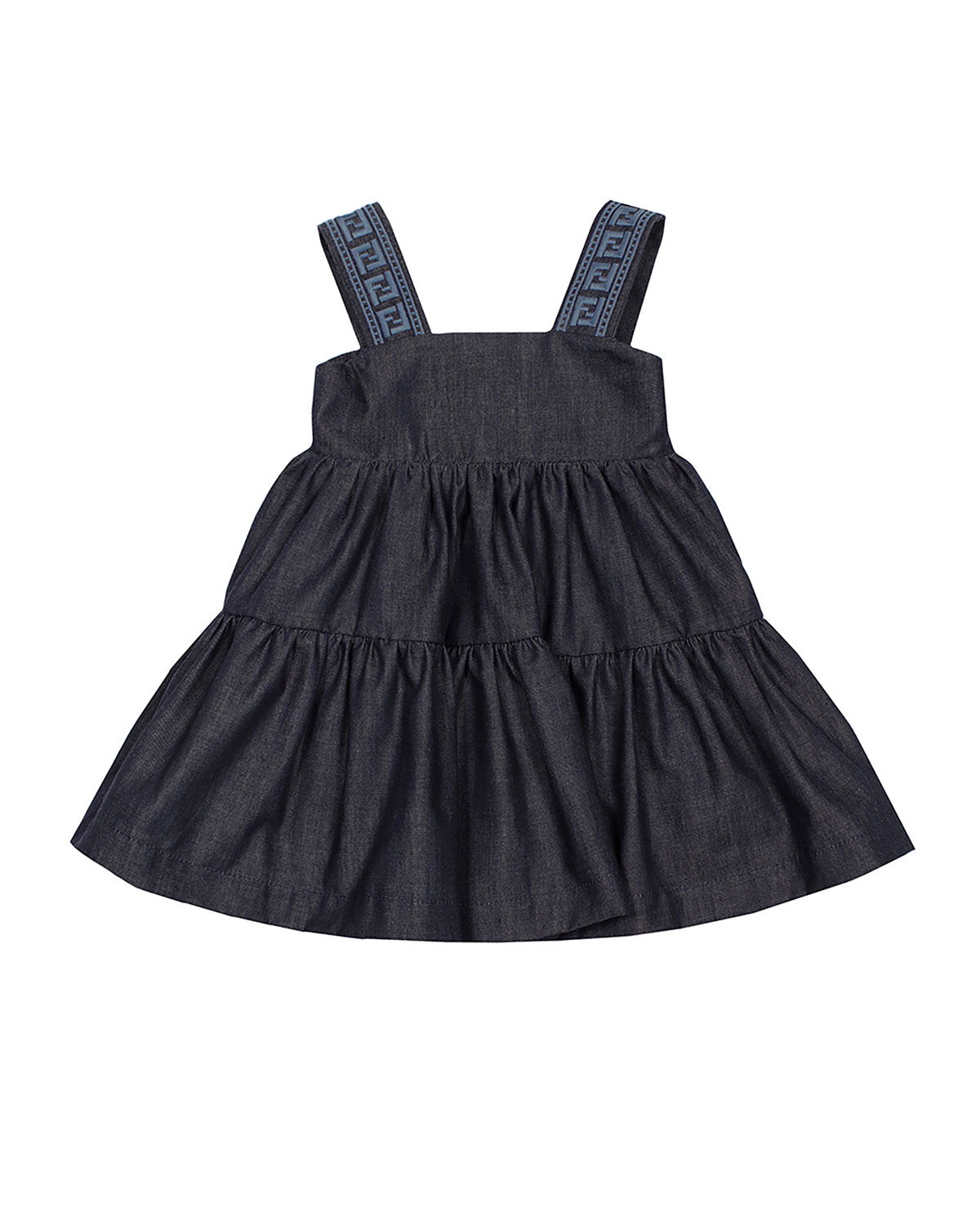 Fendi GIRL'S SOLID TIERED LOGO EMBROIDERED DRESS