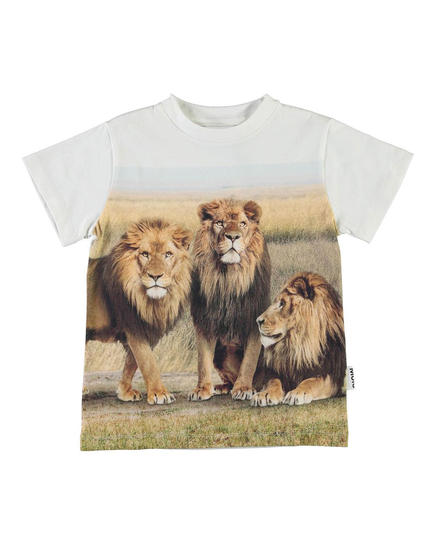 Molo BOY'S ROAD LION PRINTED SHORT-SLEEVE SHIRT