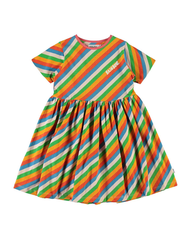 Molo GIRL'S CHASITY RAINBOW STRIPED COTTON DRESS