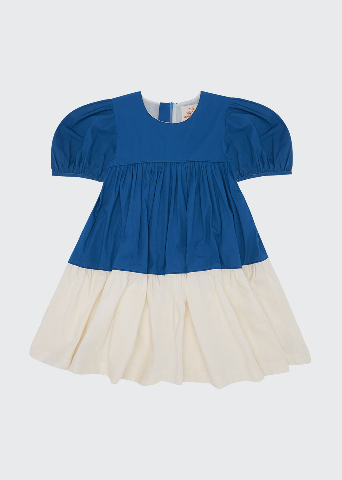 The Middle Daughter Cottons GIRL'S PUFF-SLEEVE TIERED COLORBLOCK DRESS