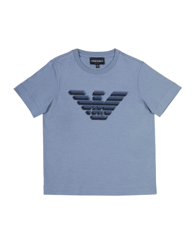 Emporio Armani BOY'S EMBROIDERED EAGLE LOGO T-SHIRT