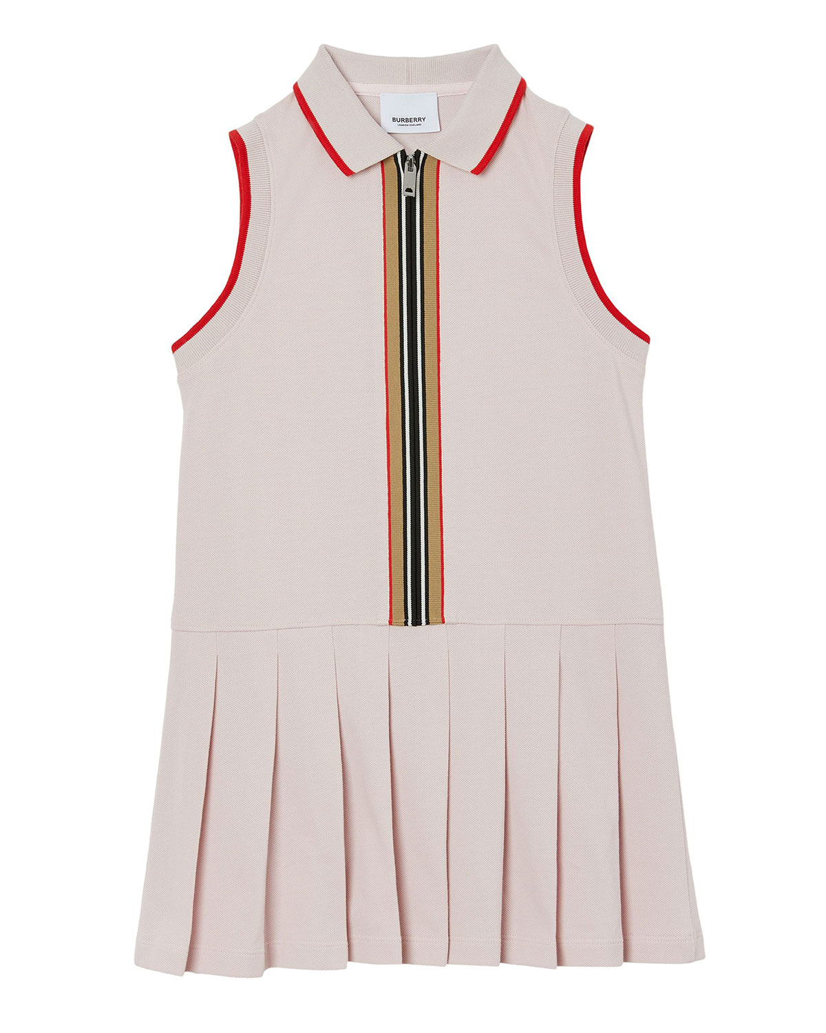 Burberry GIRL'S PLEATED POLO TIPPED DRESS