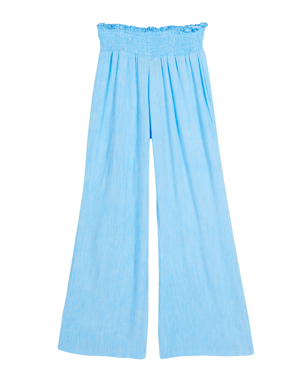 Girl's Smocked Wide-Leg Gauze Pants, Size S-XL
