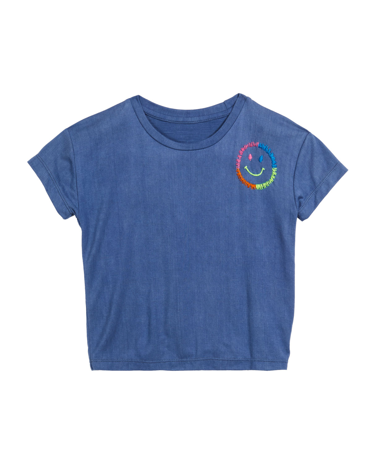 Girl's Embroidered Smiley Face T-Shirt, Size S-XL