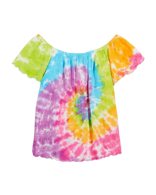Girl's Tie-Dye Short-Sleeve Gauze Top, Size S-XL