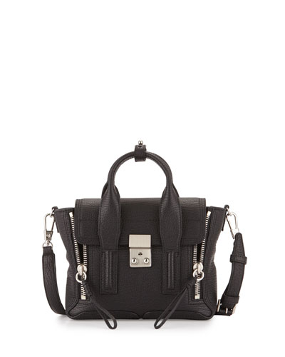 Mini Pashli Leather Satchel, Black