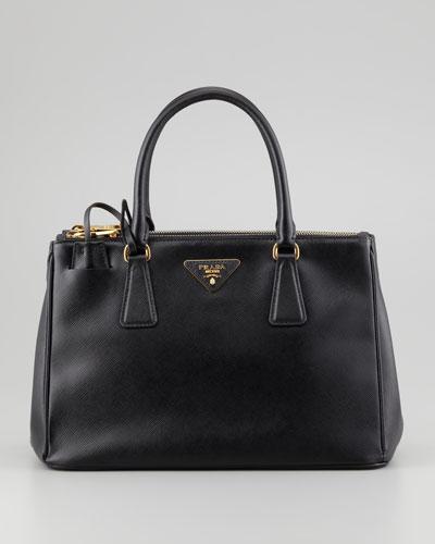 Saffiano Small Executive Tote Bag with Strap, Black