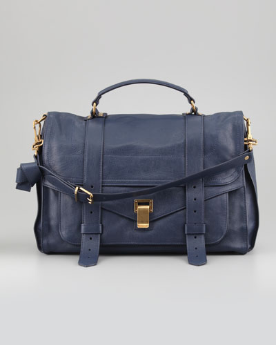 PS1 Large Leather Satchel Bag, Navy