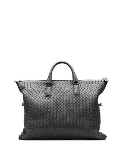 Medium Convertible Woven Tote Bag, Black