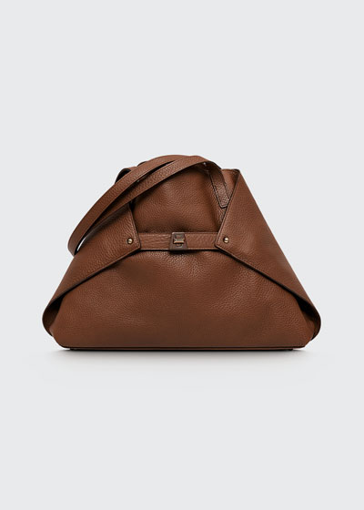 Ai Small Leather Shoulder Tote Bag, Caramel
