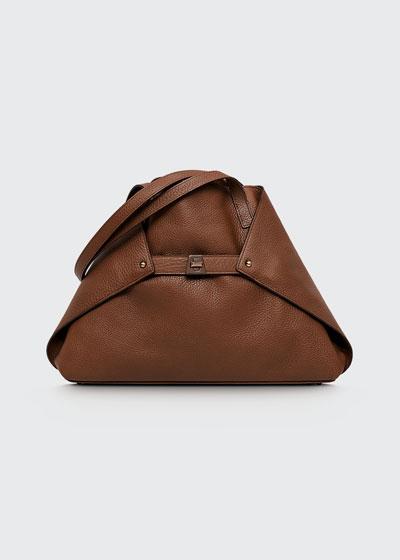 Ai Small Leather Shoulder Tote Bag, Caramel