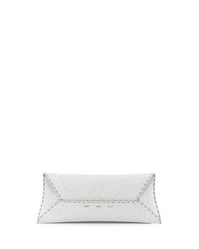 Manila Stretch Glitter Clutch Bag, Silver