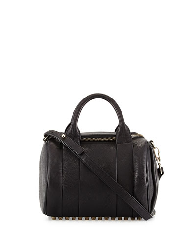 Rockie Dumbo Slick Satchel Bag w/Pale-Golden Hardware, Black