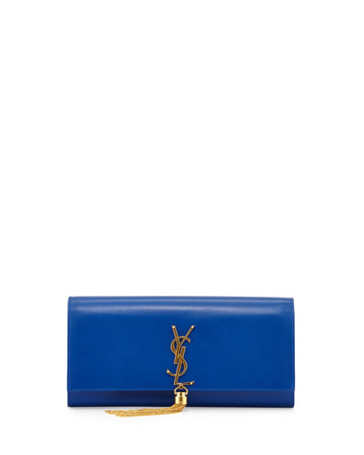 Monogram Calfskin Tassel Clutch Bag, Bleu Majorelle