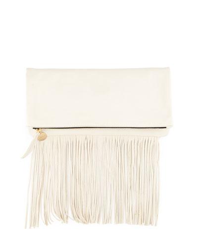 Leather Fold-Over Fringe Clutch Bag, White