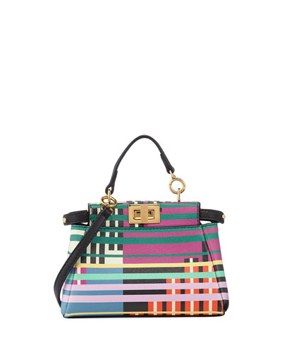 Peekaboo Micro Mixed-Stripe Satchel Bag
