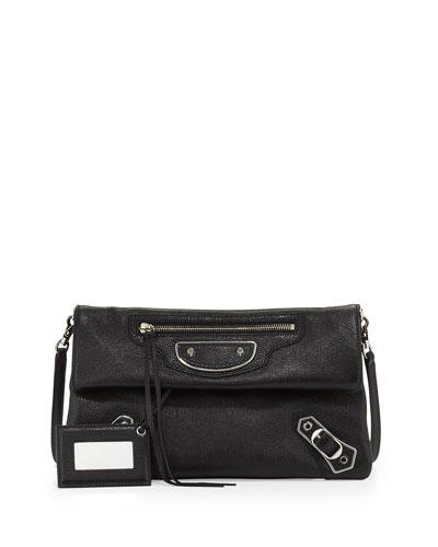 Metallic Edge Nickel Envelope Clutch Bag, Black
