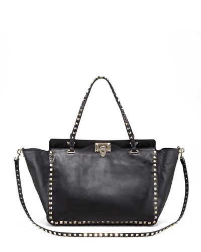 Rockstud Double-Handle Tote Bag