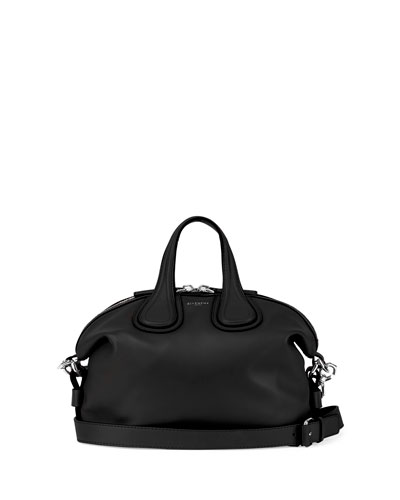 Nightingale Small Waxy Leather Satchel Bag, Black