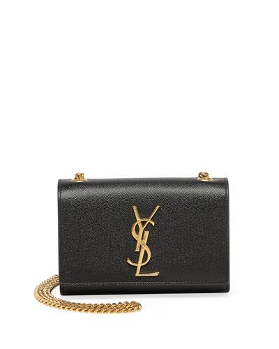 Monogram Leather Crossbody Bag, Black