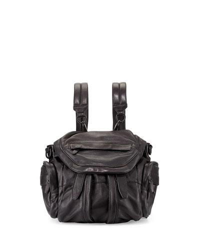 Marti Mini Zip-Trimmed Leather Backpack, Black