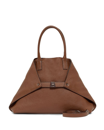 Ai Pebbled Leather Shoulder Tote Bag, Carmel