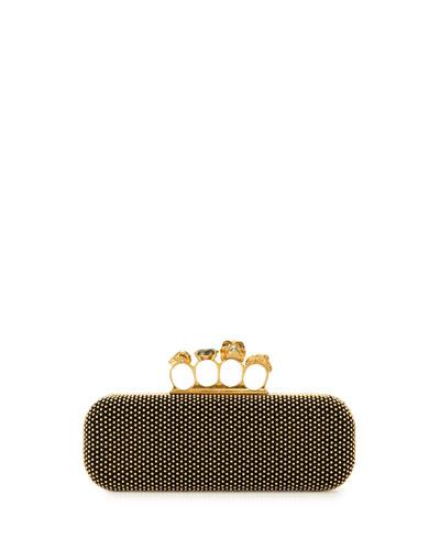 Micro-Stud Long Knuckle-Duster Clutch Bag, Black