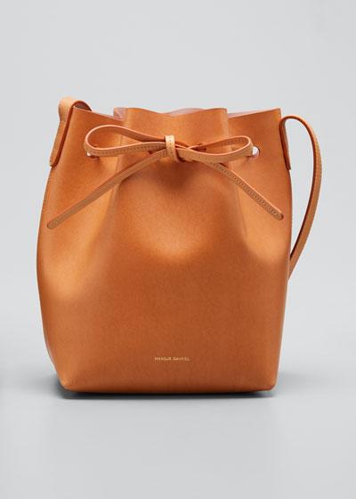 8ee40d5fb3ae7 Vegetable-Tanned Leather Mini Bucket Bag