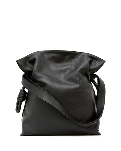 Flamenco Knot Small Bucket Bag, Black