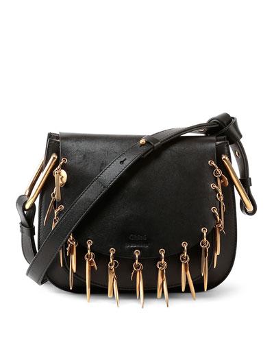 Hudson Mini Charm Shoulder Bag, Black