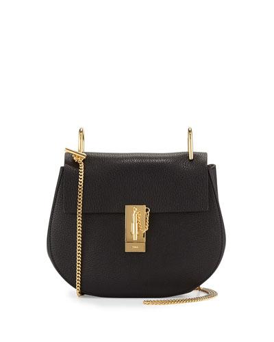 Drew Small Lambskin Shoulder Bag, Black