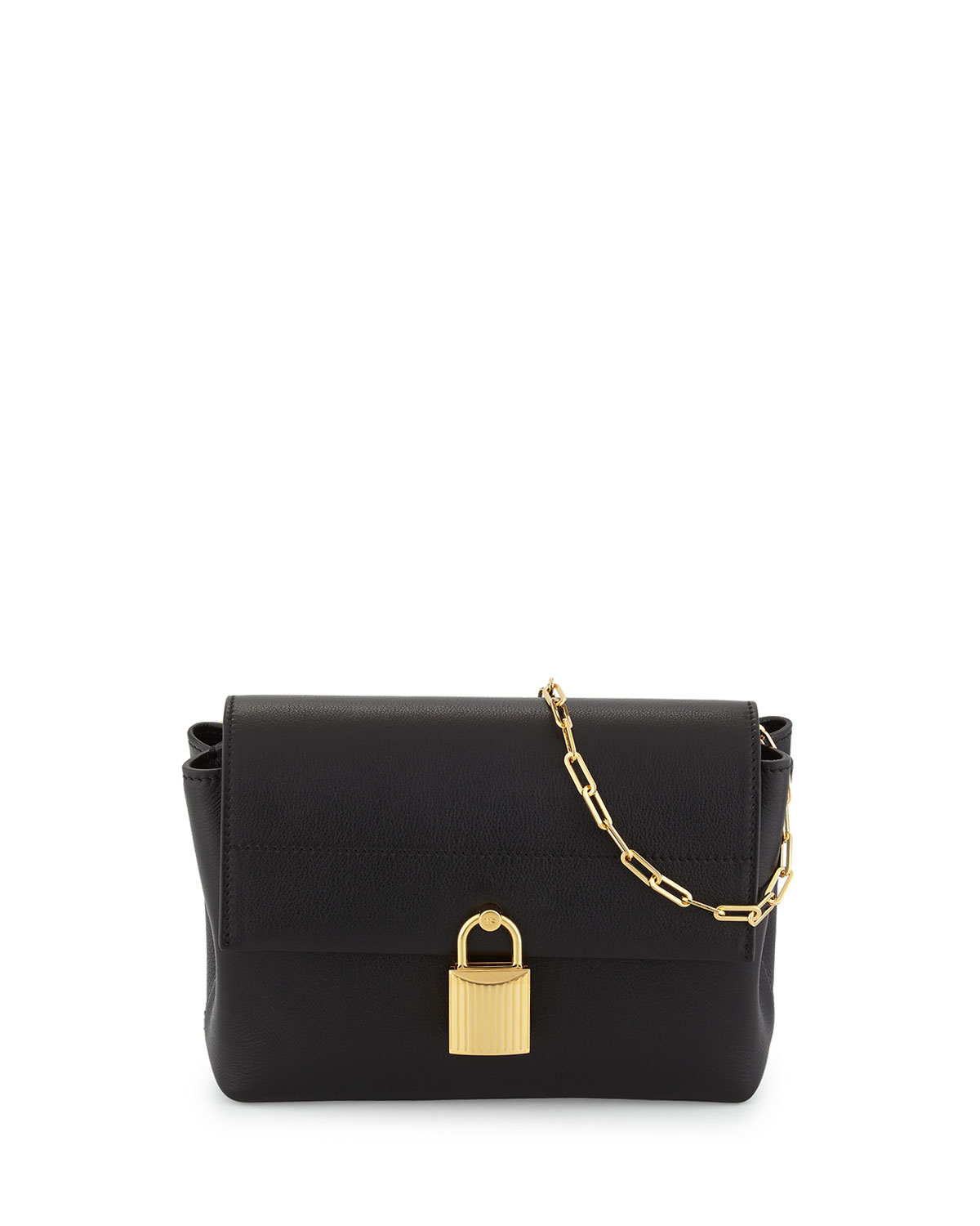 Leonica Padlock Mini Satchel Bag, Black