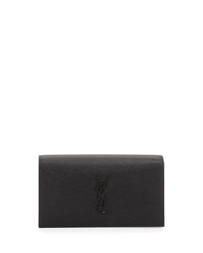 Monogram Grained Leather Clutch Bag, Black
