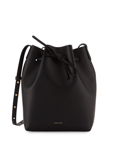Vegetable-Tanned Leather Bucket Bag, Black/Silver