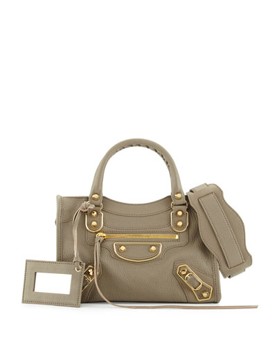 Edge City Mini Leather Satchel Bag, Light Gray