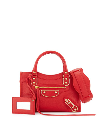Edge City Mini Leather Satchel Bag, Red