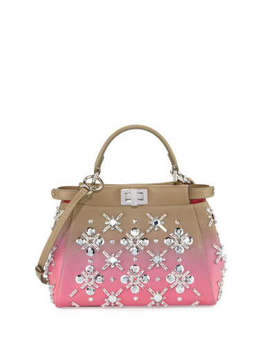 Peekaboo Mini Embellished Leather Satchel Bag, Gray/Pink